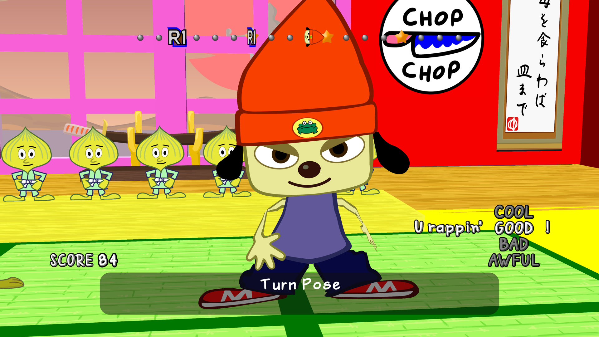 PaRappa the Rapper's legendary first stage with Chop Chop Master Onion