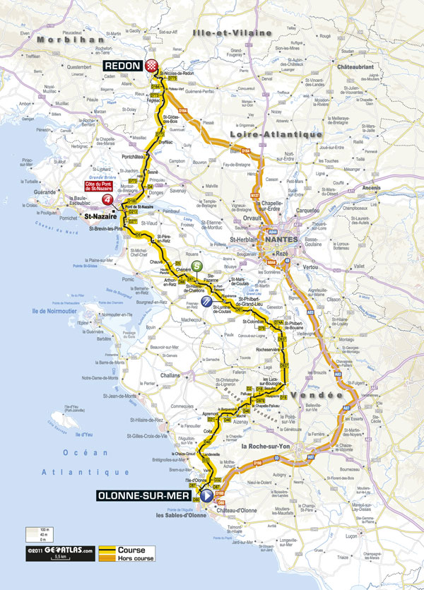 Stage 3 map, Tour de France 2011