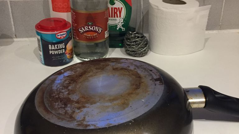 frying pan and cleaning items