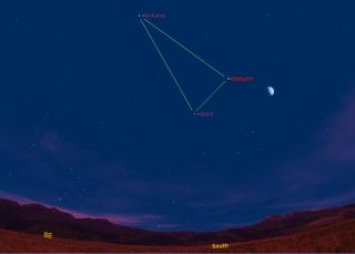 Saturn will form a triangle in the night sky with the bright stars Spica and Arcturus. This sky map shows how the triangle appears at about 9 pm local time in midnorthern latitudes.