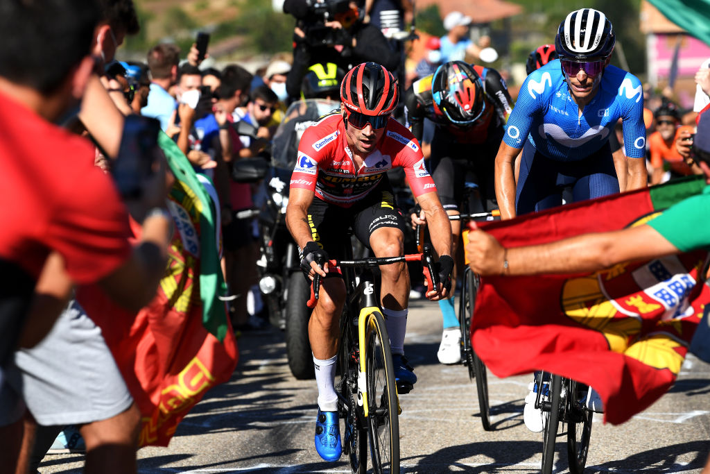 MOS SPAIN SEPTEMBER 04 LR Primoz Roglic of Slovenia and Team Jumbo Visma red leader jersey and Enric Mas Nicolau of Spain and Movistar Team attack in the breakaway during the 76th Tour of Spain 2021 Stage 20 a 2022km km stage from Sanxenxo to Mos Alto Castro de Herville 502m lavuelta LaVuelta21 on September 04 2021 in Mos Spain Photo by Tim de WaeleGetty Images