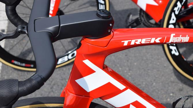 A closer look at the head tube of the Trek Madone Disc