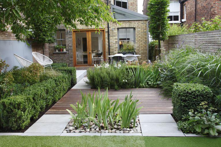 small garden layout ideas: urban garden with zones