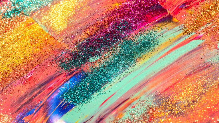 swatches of colourful and glitter make-up