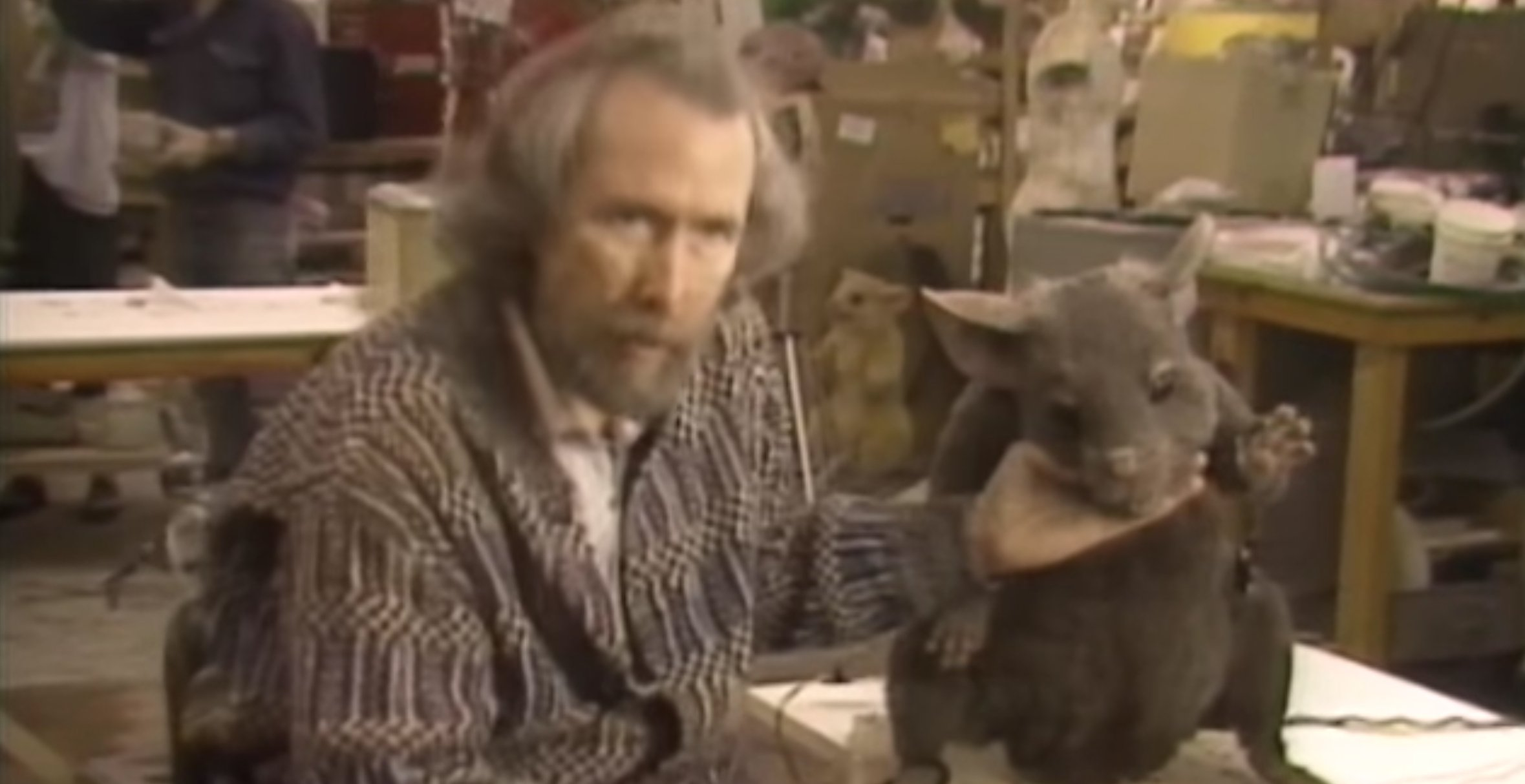 """Jim Henson and the """"Bruno"""" mouse on the set of The Witches"""