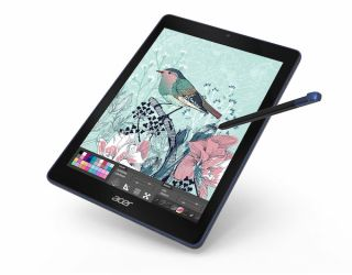 Google tablet displaying a work in progress digital illustration of a bird on a branch