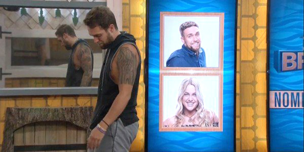 Big Brother 21 Nick walks by nominations for himself and Christie CBS live feeds shot