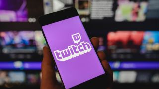 Twitch logo on mobile phone