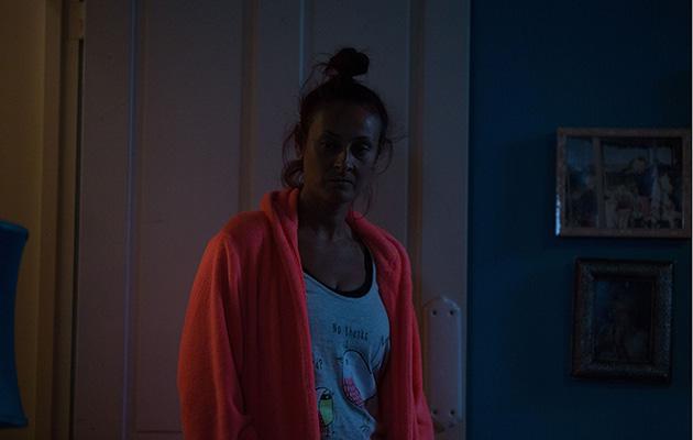 Tina Carter looking unhappy