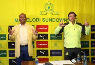 Patrice Motsepe, Chairman of Mamelodi Sundowns and Jose Ramon Alexanko