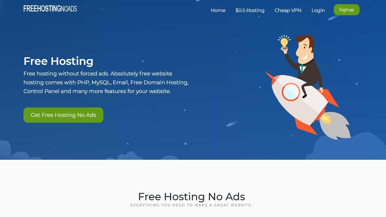 FreeHostingNoAds' homepage