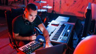 A music composer in the studio