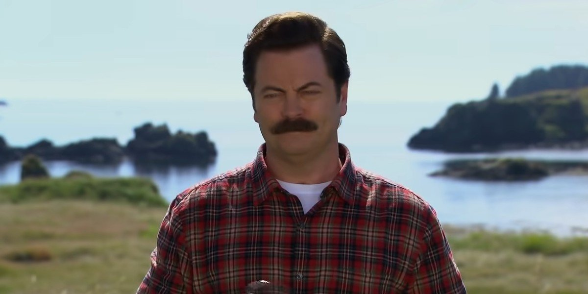 Ron Swanson visiting a distillery in Parks and Recreation