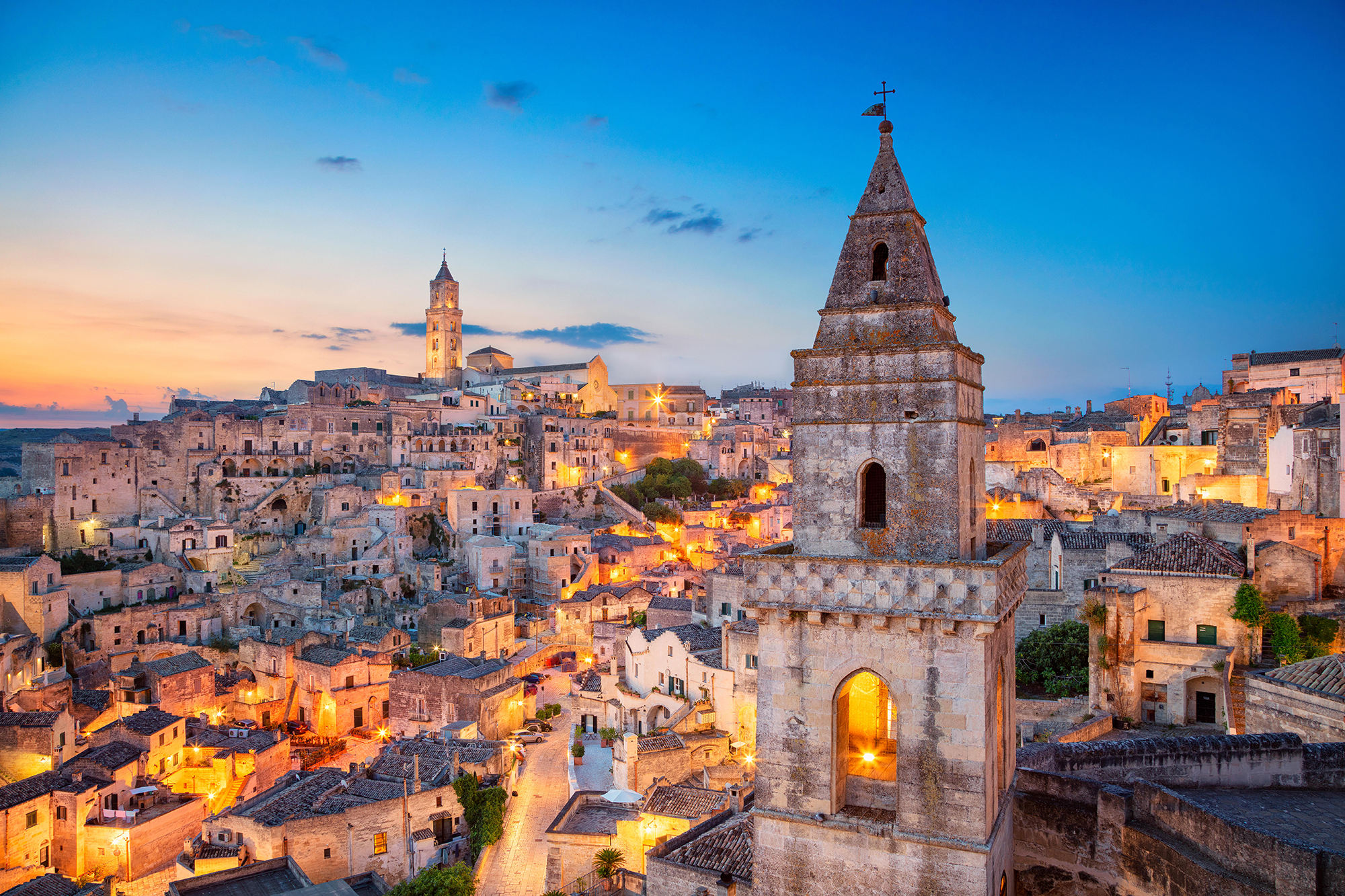 Hilltop town of Matera Italy with UNESCO heritage caves
