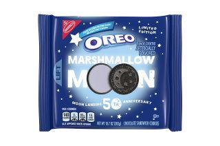 The limited edition Oreo Marshmallow Moon cookies will come with three embossed, moon landing-themed designs.