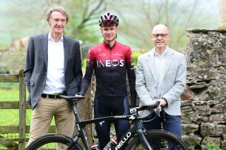 Jim Ratcliffe, Chris Froome, and Dave Brailsford at the launch