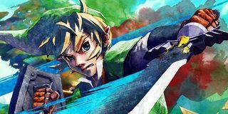 Link swings the Master Sword in Skyward Sword.