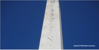 Roman obelisk with Mussolini message