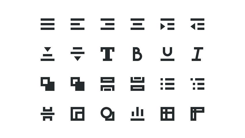 Set of glyphs