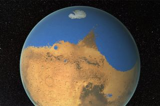 Artist's impression of a primitive ocean on Mars, which some researchers suggested harbored more water than the Arctic Ocean on Earth. (Most of that water was later lost to space.)