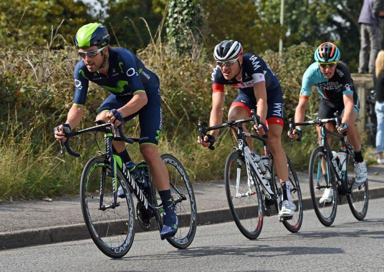Alex Dowsett heads break, Tour of Britain 2014 stage six