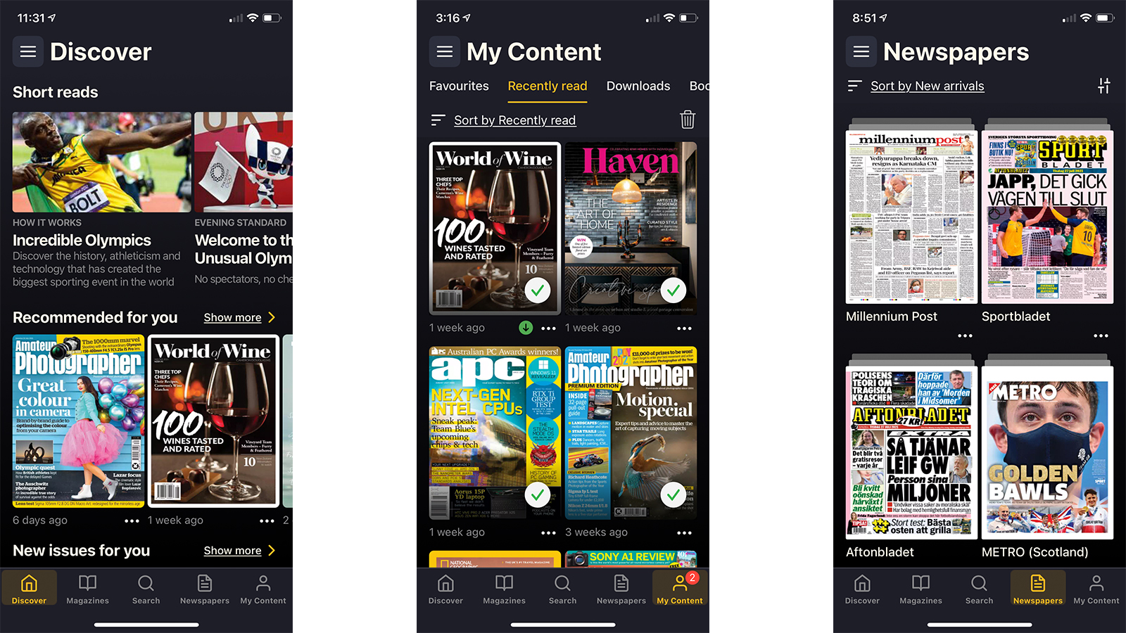 Readly magazine and newspaper thumbnails on mobile