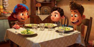 Luca, Alberto, and Giulia having pasta in Luca