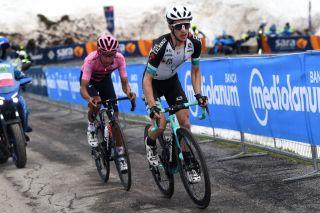 Simon Yates (Team BikeExchange) leads Egan Bernal (Ineos Grenadiers) on the upper slopes of the Zoncolan