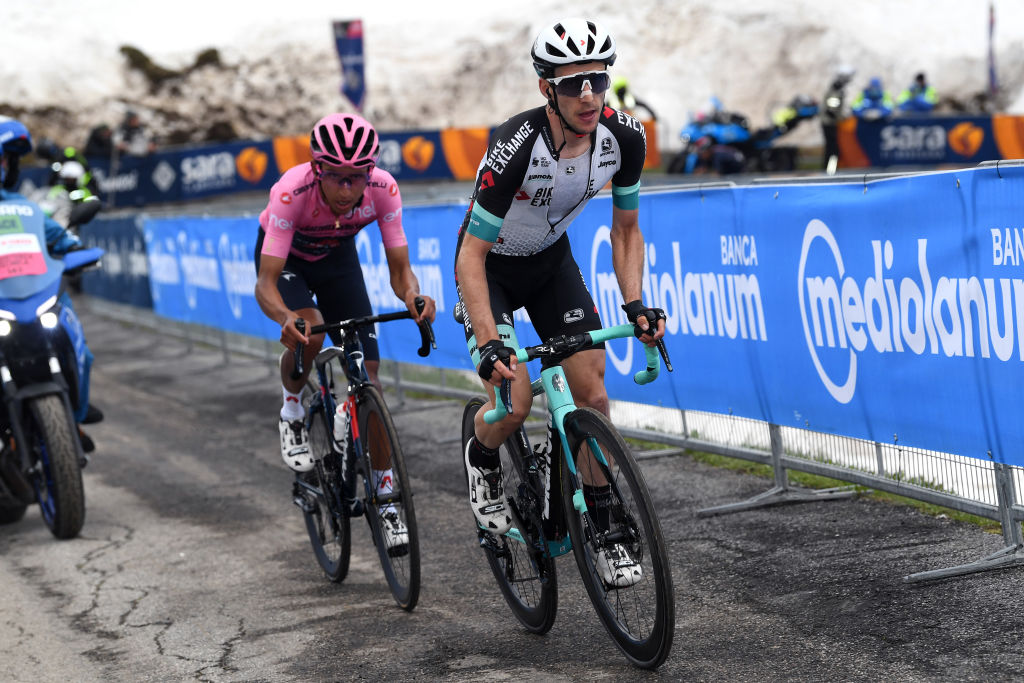MONTE ZONCOLAN ITALY MAY 22 Egan Arley Bernal Gomez of Colombia and Team INEOS Grenadiers Pink Leader Jersey Simon Yates of United Kingdom and Team BikeExchange at Monte Zoncolan 1730m during the 104th Giro dItalia 2021 Stage 14 a 205km stage from Cittadella to Monte Zoncolan 1730m Snow UCIworldtour girodiitalia Giro on May 22 2021 in Monte Zoncolan Italy Photo by Tim de WaeleGetty Images
