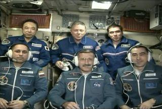 Top row (from left to right): Japanese astronaut Satoshi Furukawa, NASA astronaut Mike Fossum and Russian cosmonaut Sergei Volkov. Bottom row (from left to right): Russian cosmonaut Anton Shkaplerov, NASA astronaut Dan Burbank, and Russian cosmonaut Anato