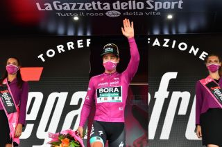 VILLAFRANCA TIRRENA ITALY OCTOBER 06 Podium Peter Sagan of Slovakia and Team Bora Hansgrohe Purple Points Jersey Celebration during the 103rd Giro dItalia 2020 Stage 4 a 140km stage from Catania to Villafranca Tirrena girodiitalia Giro on October 06 2020 in Villafranca Tirrena Italy Photo by Stuart FranklinGetty Images