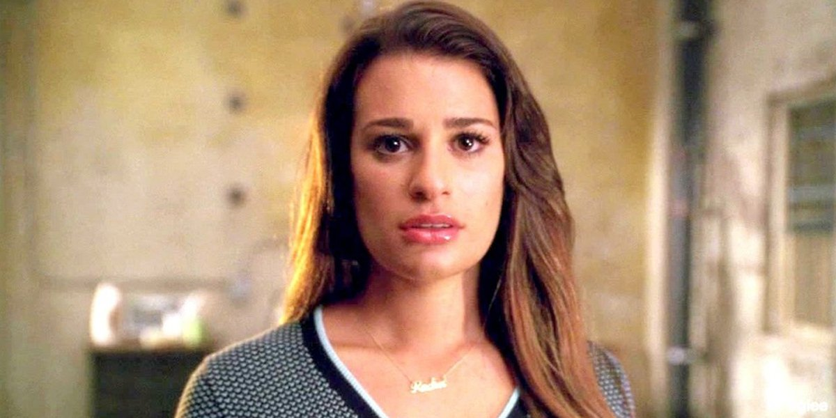 Lea Michele looking shocked on Glee