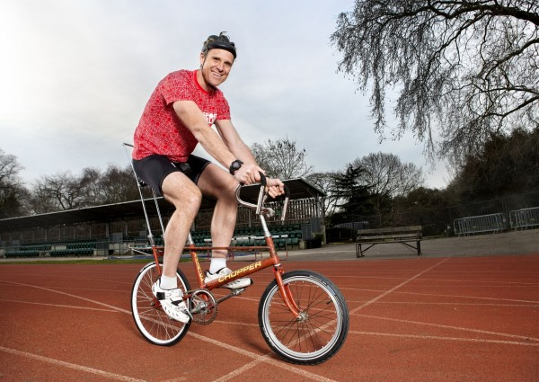 photo issued by Comic Relief of double Olympic gold medallist James Cracknell who will be riding a Chopper bike in a record attempt for Sport Relief.