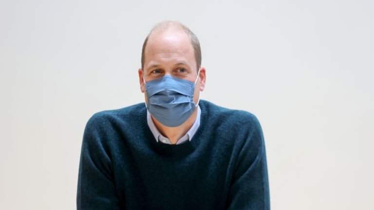Prince William wearing a face mask