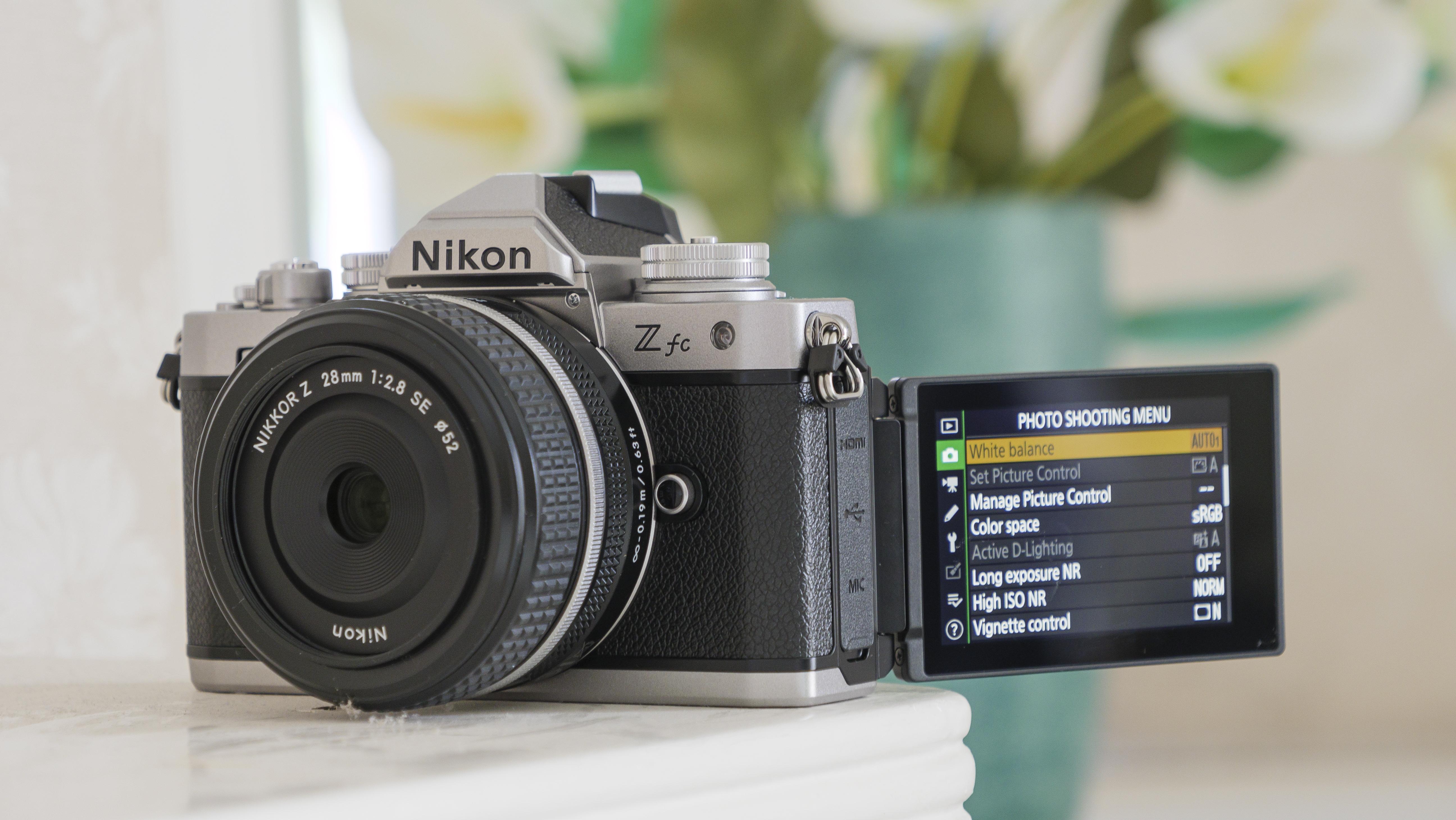 The Nikon Z fc camera on a shelf