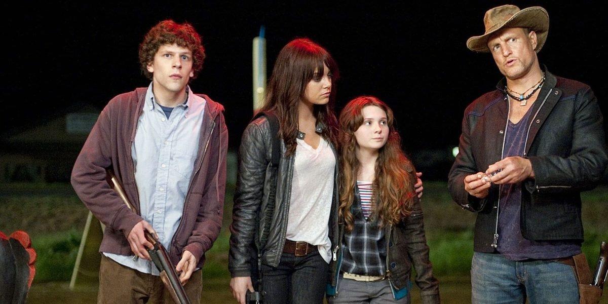 Woody Harrelson, Jesse Eisenberg, Emma Stone, and Abigail Breslin in Zombieland 2009