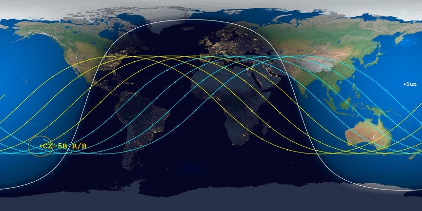 The Aerospace Corporation's Center for Orbital and Re-entry Debris Studies is presently predicting a re-entry date of May 10, 2021, plus or minus 41 hours, for the core stage of the Long March-5B rocket that launched the core module of China's space station on April 28.