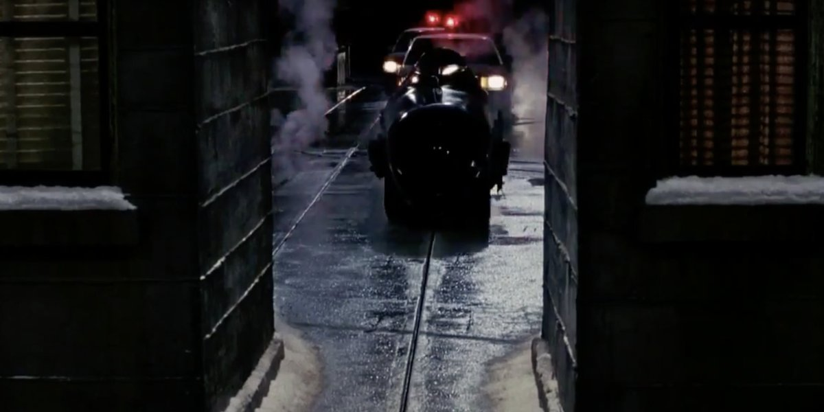 The Batmobile's narrow escape in Batman Returns