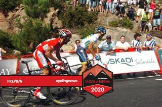 Vuelta leader Joaquim Rodriguez (Katusha) and Alberto Contador (Saxo Bank) go head-to-head on the steep slope of the Mirador de Ézaro climb.