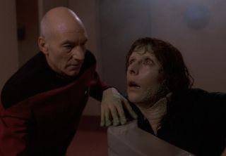 """Capt. Picard and an amphibious Counselor Troi in """"Genesis"""" (S07ep19)."""