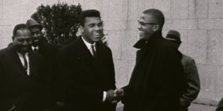 Archival footage of Cassius Clay and Malcolm X in Blood Brothers: Malcolm X and Muhammad Ali