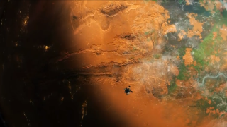 An image of mars colonization efforts from the videogame Per Aspera.