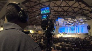 The Panasonic VariCam LT CineLive System in action at the First Assembly of God church in Fort Myers, FL.