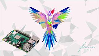 The Fenix Linux logo and a Raspberry Pi 4 board