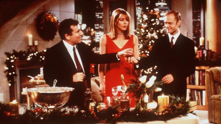 "S. Rubinek, Jane Leeves and David Hyde Pierce star in ""Frasier"" (""The Fight Before Christmas"")."