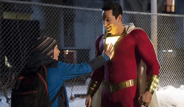 Freddy Freeman and adult Billy Batson in Shazam!