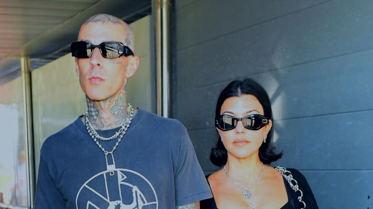 Kourtney Kardashian and Travis Barker are seen on August 29, 2021 in Venice, Italy