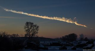 Trail of the asteroid that exploded over Chelyabinsk, Russia, on Feb. 15, 2013.