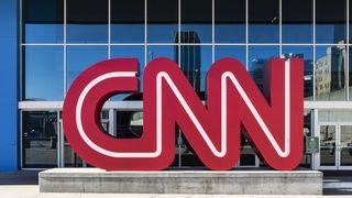 The CNN logo outside the company's world headquarters in Atlanta in November 2015.