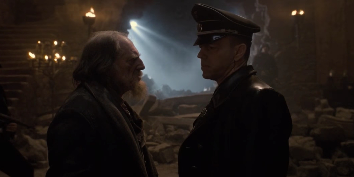 David Bradley and Hugo Weaving in Captain America: The First Avenger
